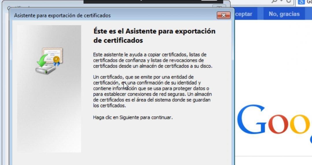 Como exportar el Certificado Digital de un equipo a otro